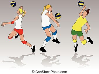 Vector of playing Volleyball