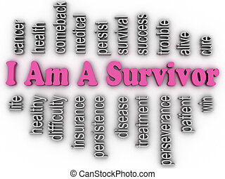 3d imagen I Am A Survivor  concept word cloud background