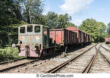 old rusted train at trainstation hombourg - old rusted train...