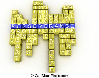 3D, imagen, perseverancia, concepto, palabra, nube, Plano de...