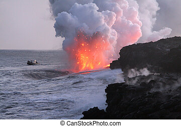 Boat Watching Lava Flow Into Pacific Ocean - Big Island...