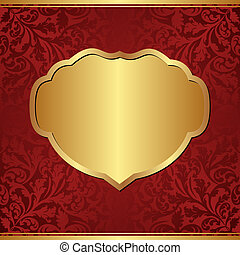 claret background with golden frame