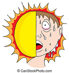 Hot Sun - An image of a man sweating from the hot sun.