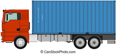 Truck with container.
