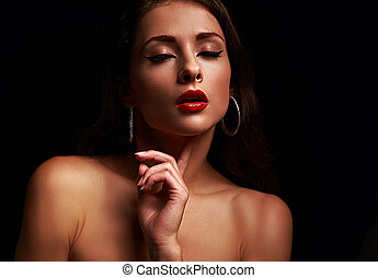Beautiful sexy woman with close eyes with bright red...