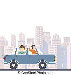 Family in Road Trip - Illustration of family going on the...