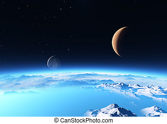 Ice planet with a Moon