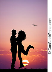 Happy couple at sunset - illustration of happy couple at...