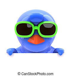 3d Bluebird looking over the top in green sunglasses - 3d...