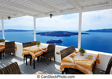The sea view terrace in restaurant at luxury hotel,...