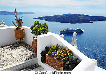 The house decoration and sea view, Santorini island, Greece