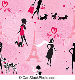 Seamless pattern with black silhouettes of fashionable girls wit