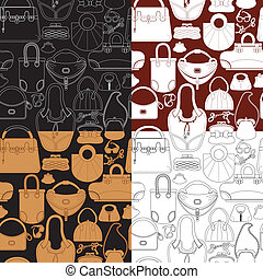 Set of seamless patterns with woman bags and handbags Ready...