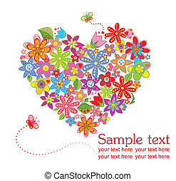 Greeting card with floral heart