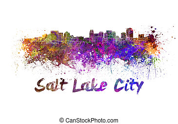 Salt Lake City skyline in watercolor splatters with clipping...