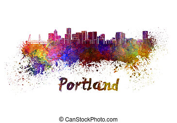 Portland skyline in watercolor splatters with clipping path