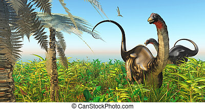Apatosaurus Dinosaur Garden - A Pteranodon flies past two...