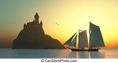 Castle on the Sea - A schooner sails by a fortress castle on...