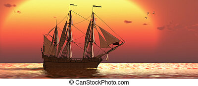 Ship at Sunset - A galleon frigate ship makes it way across...