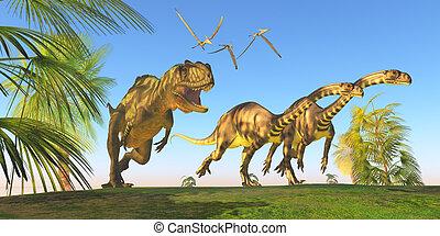 Yangchuanosaurus Dinosaur Hunt - Two Massospondylus...