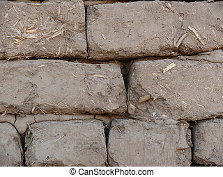 Mud and straw bricks detail originals in an egyptian temple...