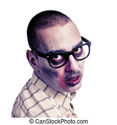 zombie with black plastic-rimmed eyeglasses