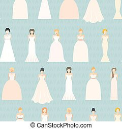 Wedding Seamless Pattern - Brides in different styles of...