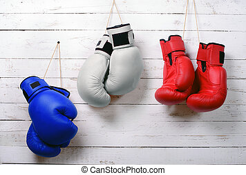 boxing gloves blue, white and red wall hung