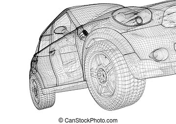 car 3D model - car model , model body structure, wire model
