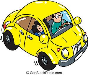 Yellow retro car