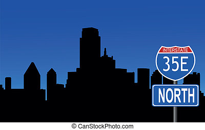 Dallas skyline interstate sign - Dallas skyline with...