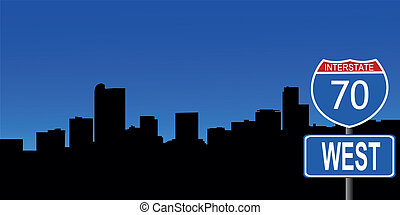 Denver skyline interstate sign - Denver skyline with...