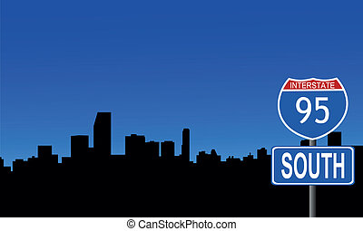 Miami skyline interstate sign - Miami skyline with...