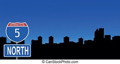 Portland skyline interstate sign - Portland skyline with...