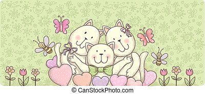Banner family funny cats. Contains transparent objects....