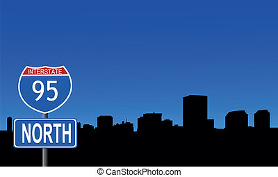 Richmond skyline interstate sign - Richmond skyline with...