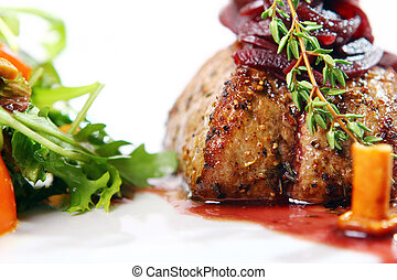 Fresh tasty meat with gourmet garnish - Restaurant fresh...