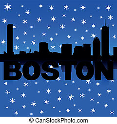 Boston skyline snow illustration