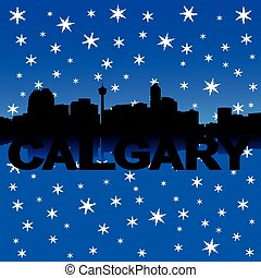 Calgary skyline winter illustration