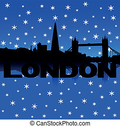 London skyline snow illustration - London skyline reflected...