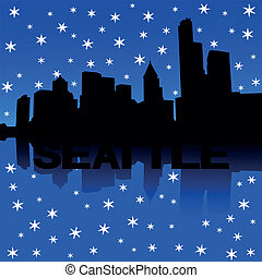 Seattle skyline snow illustration