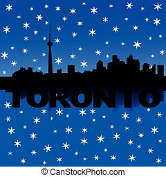 Toronto skyline winter illustration