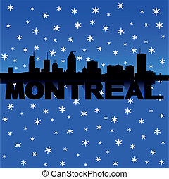 Montreal skyline snow illustration