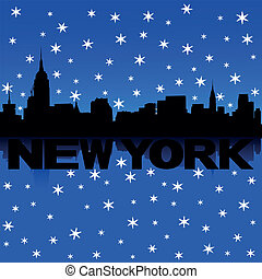 New York skyline snow illustration