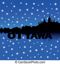 Ottawa skyline snow illustration - Ottawa skyline reflected...