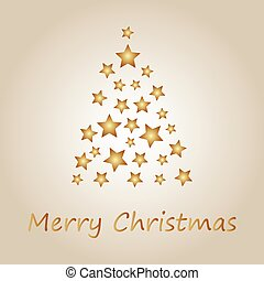 Simple gold christmas tree from stars, merry christmas card