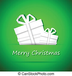 Origami christmas tree, simple merry christmas green card