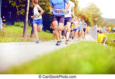 Unidentified marathon racers running - Group of unidentified...