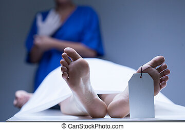 Worker of morgue during job - View of worker of morgue...