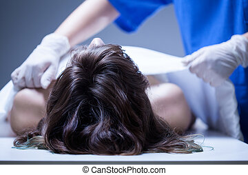 Nurse covering the dead body - View of nurse covering the...